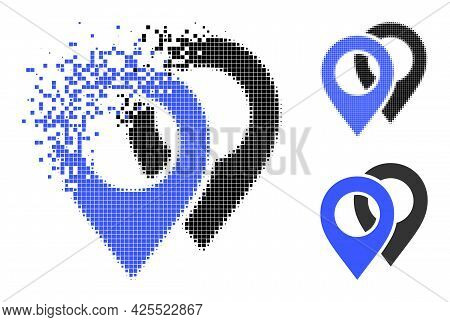 Dissipated Pixelated Map Markers Glyph With Halftone Version. Vector Destruction Effect For Map Mark