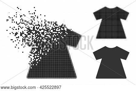 Shredded Dot Lady Dress Pictogram With Halftone Version. Vector Destruction Effect For Lady Dress Pi