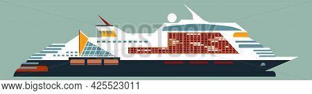 Transatlantic Cruise Luxury Liner, Isolated On Green