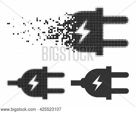 Disintegrating Pixelated Electric Plug Pictogram With Halftone Version. Vector Wind Effect For Elect
