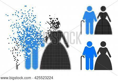 Fragmented Dot Grandparents Couple Pictogram With Halftone Version. Vector Destruction Effect For Gr
