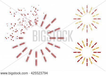 Dissolving Pixelated Shine Rays Pictogram With Halftone Version. Vector Wind Effect For Shine Rays I
