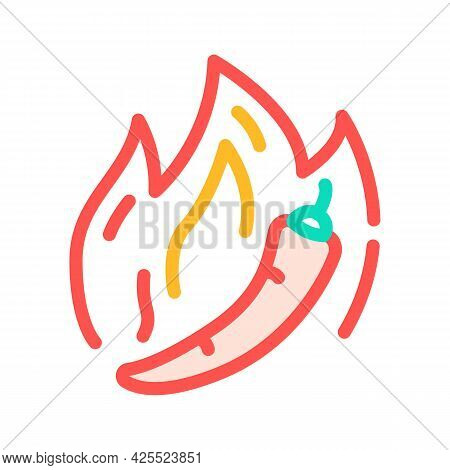 Hot Pepper Color Icon Vector. Hot Pepper Sign. Isolated Symbol Illustration