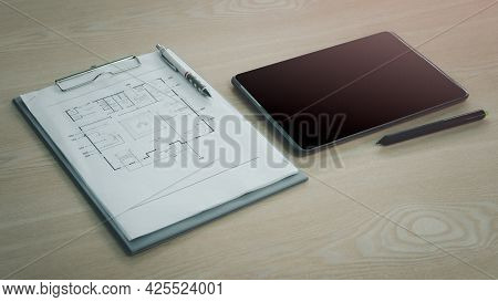 Architect Engineer Contractor Design Working Drawing Sketch Plan Blueprint And Making Architectural