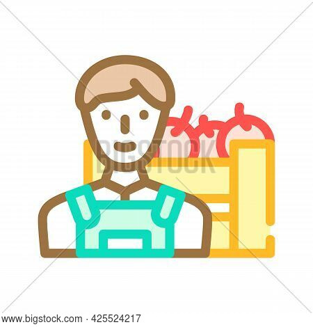 Farmer Worker Color Icon Vector. Farmer Worker Sign. Isolated Symbol Illustration