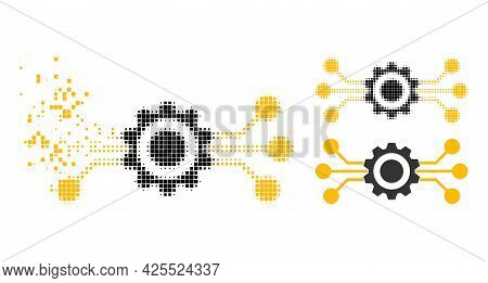 Disintegrating Pixelated Hitech Gear Icon With Halftone Version. Vector Wind Effect For Hitech Gear