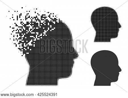 Broken Dotted Man Profile Pictogram With Halftone Version. Vector Wind Effect For Man Profile Pictog