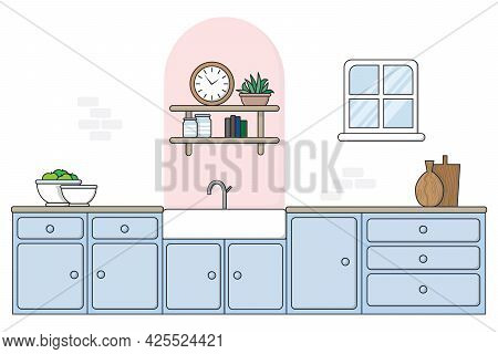 Flat Style Kitchen With Painted Arch, 2020 - 2021 Trending Interior Design Feature. Sky Blue Painted