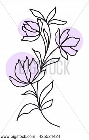Elegant Delicate Flower Line Art, Vector Illustration. Branch With Flowers And Leaves, Simple Lines.