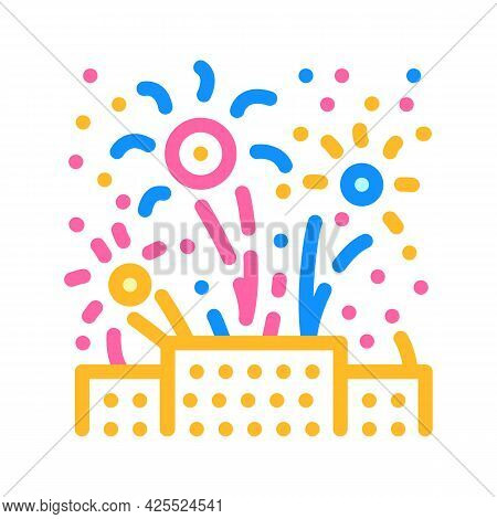 Fireworks Explosions Color Icon Vector. Fireworks Explosions Sign. Isolated Symbol Illustration