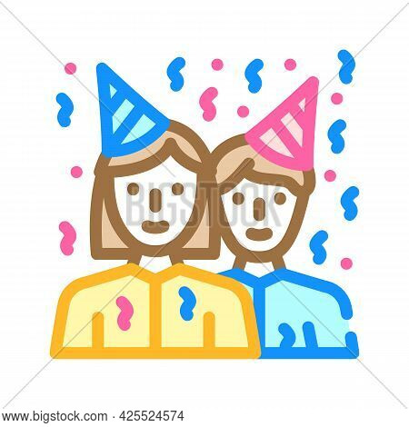Guests Birthday Color Icon Vector. Guests Birthday Sign. Isolated Symbol Illustration