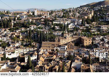 Granada, Spain - August 30, 2020: Panoramic View Of Albaicin Neighborhood Since Alcazaba Tower Looko
