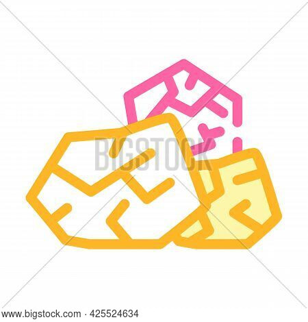 Throwing Stones Color Icon Vector. Throwing Stones Sign. Isolated Symbol Illustration