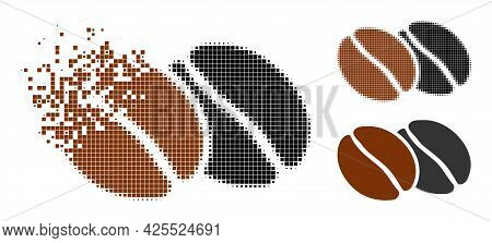 Dust Dot Coffee Beans Icon With Halftone Version. Vector Destruction Effect For Coffee Beans Icon. P