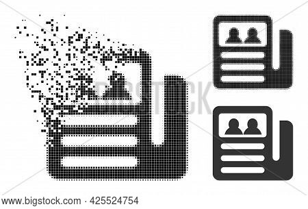 Disintegrating Pixelated Newspaper Icon With Halftone Version. Vector Destruction Effect For Newspap