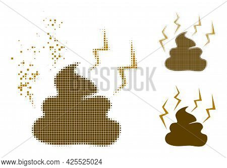 Dissolving Dotted Fetid Shit Icon With Halftone Version. Vector Wind Effect For Fetid Shit Icon. Pix