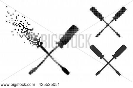 Dissipated Dotted Screwdrivers Glyph With Halftone Version. Vector Wind Effect For Screwdrivers Icon