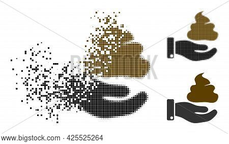 Destructed Pixelated Hand Give Shit Icon With Halftone Version. Vector Destruction Effect For Hand G