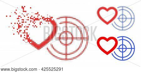 Dissolved Pixelated Romantic Heart Target Pictogram With Halftone Version. Vector Wind Effect For Ro