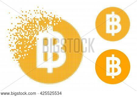 Shredded Pixelated Bitcoin Coin Pictogram With Halftone Version. Vector Destruction Effect For Bitco