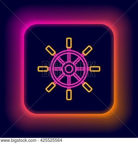 Glowing Neon Line Ship Steering Wheel Icon Isolated On Black Background. Colorful Outline Concept. V