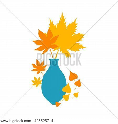 Flat Autumn Composition, Decorative Elements. Stock Vector Illustration, Leaves In Vase. Autumn Oran