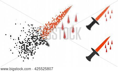 Disappearing Dotted Blood Sword Glyph With Halftone Version. Vector Wind Effect For Blood Sword Icon