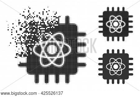 Moving Pixelated Quantum Computing Glyph With Halftone Version. Vector Wind Effect For Quantum Compu
