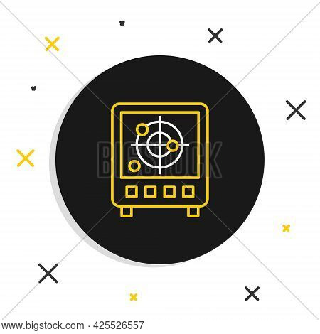 Line Radar With Targets On Monitor In Searching Icon Isolated On White Background. Search System. Na