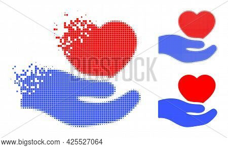 Decomposed Pixelated Romantic Heart Offer Hand Icon With Halftone Version. Vector Wind Effect For Ro