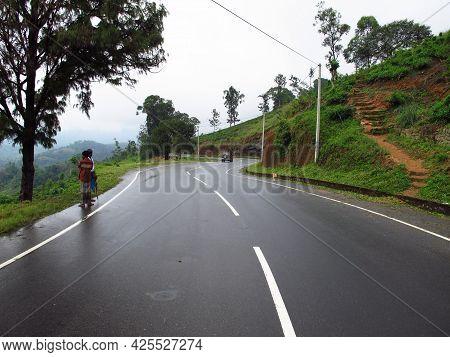 Nuwara Eliya, Sri Lanka - 08 Jan 2011: The Road On The Tea Plantation, Nuwara Eliya, Sri Lanka
