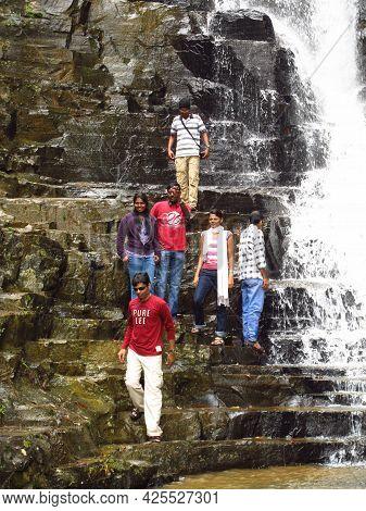 Nuwara Eliya, Sri Lanka - 08 Jan 2011: The People Close The Waterfall, Nuwara Eliya, Sri Lanka