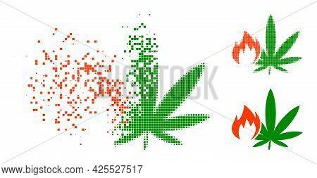 Broken Pixelated Hot Cannabis Glyph With Halftone Version. Vector Destruction Effect For Hot Cannabi