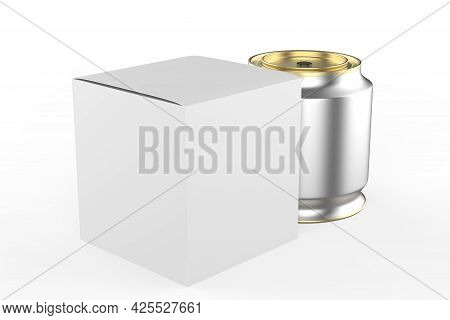 Blank Tall Tin Box Food Container For Dry Products - Tea, Coffee, Sugar, Candy, Spice. Realistic Pac