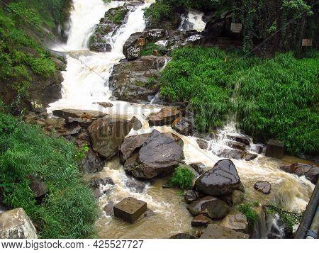 Yala, Sri Lanka - 09 Jan 2011: The Waterfall In Mountains Of Sri Lanka