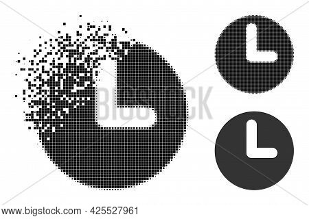Dust Dot Time Icon With Halftone Version. Vector Destruction Effect For Time Icon. Pixel Dissolution