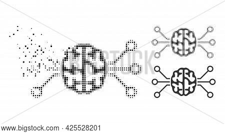 Fragmented Dotted Brain Circuit Icon With Halftone Version. Vector Wind Effect For Brain Circuit Ico