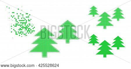 Dissolving Dotted Fir Tree Forest Glyph With Halftone Version. Vector Wind Effect For Fir Tree Fores