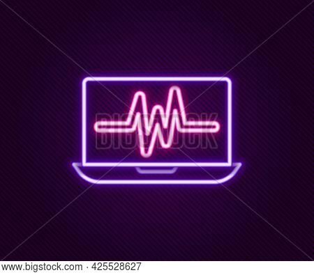 Glowing Neon Line Laptop With Cardiogram Icon Isolated On Black Background. Monitoring Icon. Ecg Mon