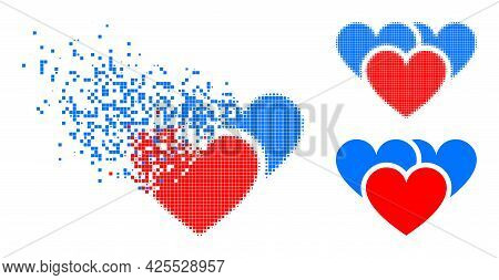 Erosion Pixelated Love Hearts Pictogram With Halftone Version. Vector Wind Effect For Love Hearts Pi