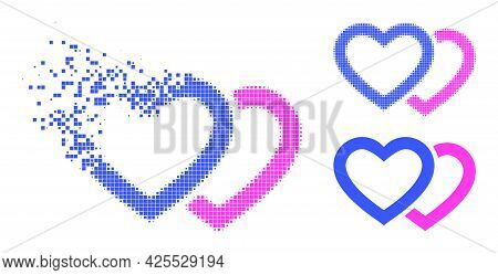 Decomposed Pixelated Romantic Hearts Icon With Halftone Version. Vector Destruction Effect For Roman