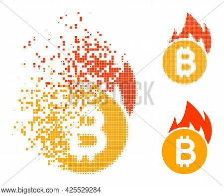 Destructed Pixelated Burn Bitcoin Icon With Halftone Version. Vector Destruction Effect For Burn Bit