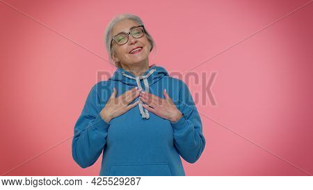 I Am The Best. Proud Egoistic Senior Old Granny Woman Proud Of Her Victory, Bragging Own Success Win