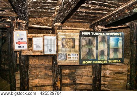 Visoko, Bosnia and Herzegovina-May 13.  2021: The megalithic blocks inside mysterious Ravne tunnels in Bosnian Pyramid Valley , Visoko . Bosnia and Herzegovina.