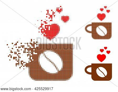 Erosion Pixelated Lovely Coffee Cup Pictogram With Halftone Version. Vector Wind Effect For Lovely C