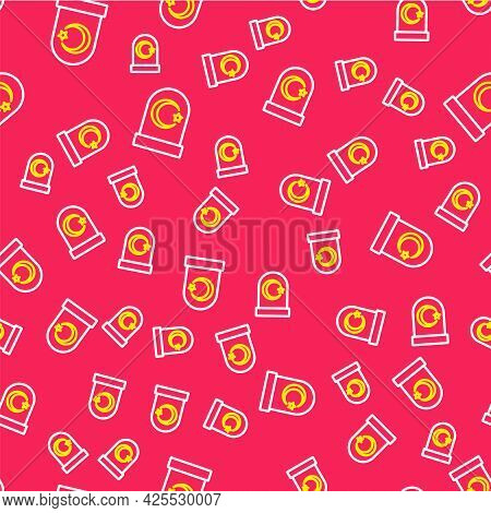 Line Muslim Cemetery Icon Isolated Seamless Pattern On Red Background. Islamic Gravestone. Vector