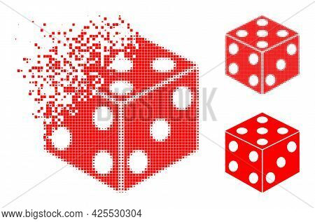 Erosion Pixelated Dice Cube Icon With Halftone Version. Vector Wind Effect For Dice Cube Icon. Pixel