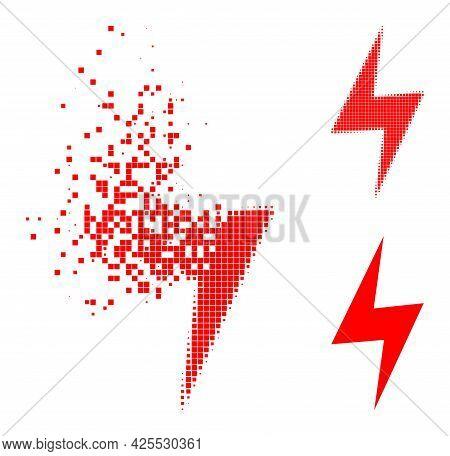 Broken Pixelated Electric Hazard Glyph With Halftone Version. Vector Wind Effect For Electric Hazard