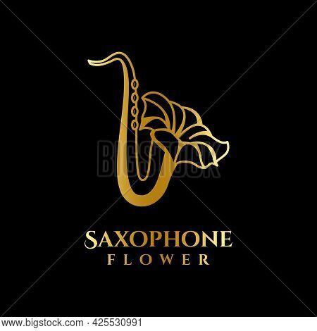Luxury Gold Saxophone Flower Logo Vector Template