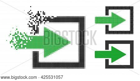 Dispersed Pixelated Import Arrow Pictogram With Halftone Version. Vector Destruction Effect For Impo